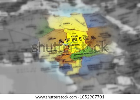 Continent Africa, African Union (AU) continent, Organisation of African Unity (black and white selective focus).