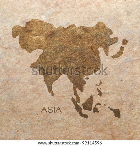 continent of asia on old paper