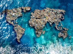 Continents earth are made up of garbage, surrounded by ocean water. Concept environmental pollution with plastic and human waste.