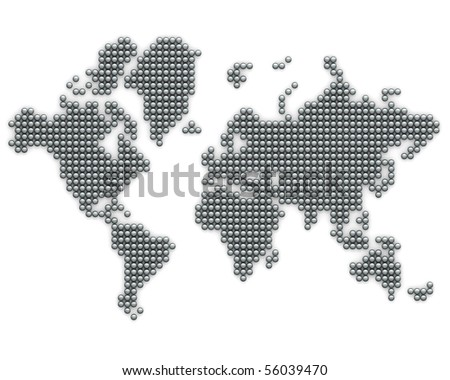 Continents made from silver balls