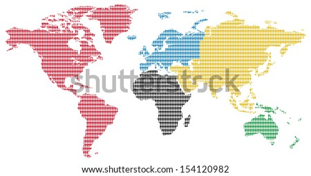 continents olympic colors little men pattern world map