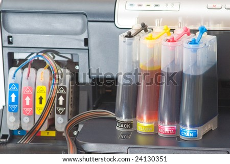 Continous ink supply system - CISS close up.