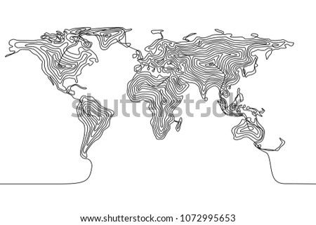 Continuous line drawing of a world map, single line flat Earth concept, template or icon