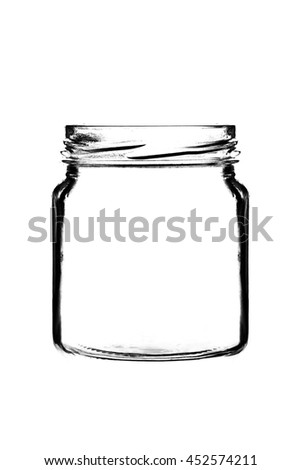 Contour of dark Shape of jar isolated on white background