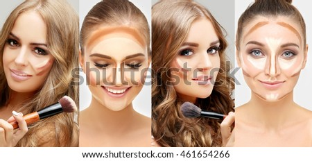 Contouring.Make-up of female faces. Contour and highlight makeup.