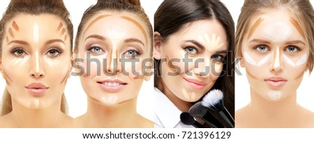 Contouring.Make-up of female faces. Contour and highlight makeup. #721396129