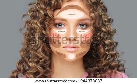 Contouring.Make up woman face. Contour and highlight makeup Photo stock ©