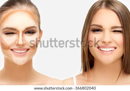 Contouring.Make up woman face. Contour and highlight makeup