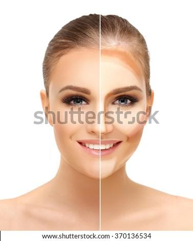 Contouring.Make up woman face. Contour and highlight makeup.