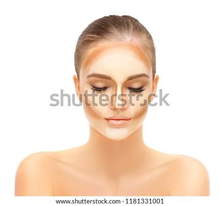 Contouring.Make up woman face. Contour and highlight makeup.Applying Make-up.