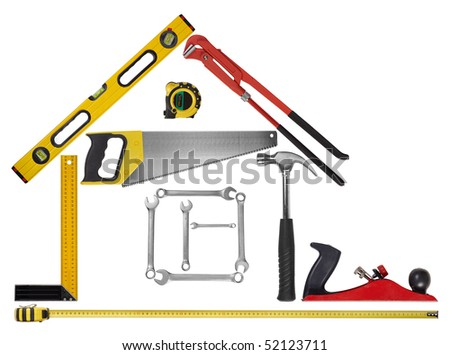Contours of the house from tools - stock photo