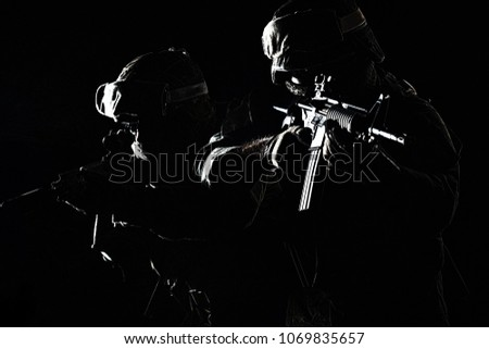 Contours of United States Marine with rifle weapons in uniforms. Military equipment, army helmet, combat boots, tactical gloves. Isolated on white, weapons, army, patriotism concept #1069835657