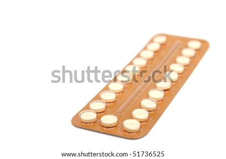 Contraceptive Pill on white background with selective focus