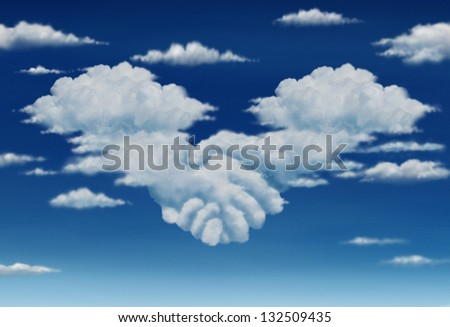 Contract agreement vision in a meeting of a group of two cumulus clouds on a blue sky shaped as hands of business people coming together to form a strong collaboration for the future.