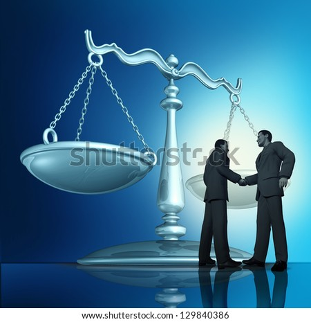 Contract agreement with a group of two businessmen shaking hands in a legal partnership with a scale of justice in the background as a concept of teamwork in business.