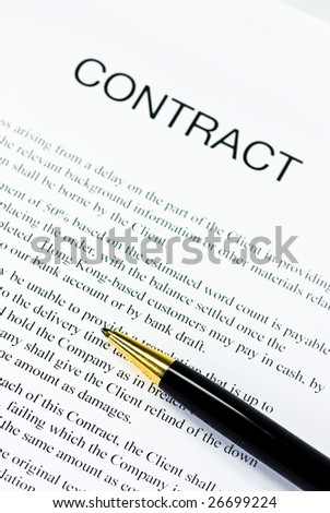 contract and golden pen