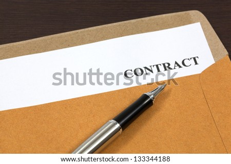 contract, contract in folder Close-up