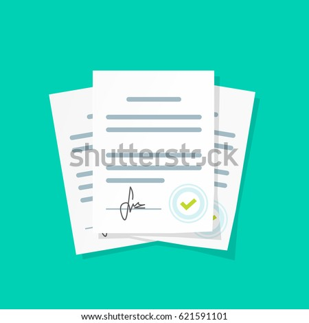 Contract documents pile illustration, flat cartoon stack of agreements document with signature and approval stamp, concept of paperwork, business doc clipart