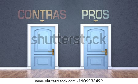 Contras and pros as a choice - pictured as words Contras, pros on doors to show that Contras and pros are opposite options while making decision, 3d illustration Foto stock ©