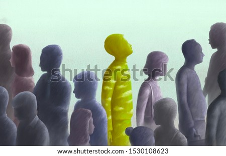 Contrast, different, outstanding, freedom, unique concept surreal illustration, Green human looking at the sky in group of gray people Stockfoto ©