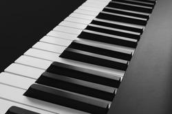 Contrast photo, digital piano keybord close up