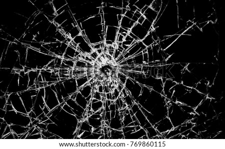 contrasting broken glass on a black background