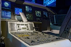 Control mechanism in the cabin space shuttle. Interior spacecraft. Control room space rockets.