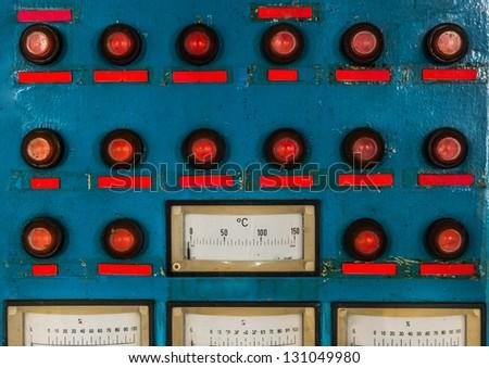 Control panel in old laboratory closeup