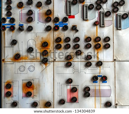 Control panel in old laboratory closeup