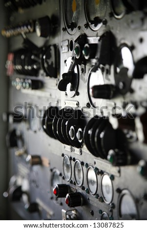 control panel in the cockpit of old airplane