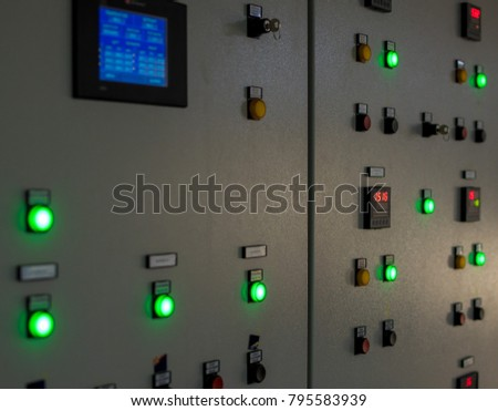Control panel in the factory.Switch Control , Many electronic devices. #795583939