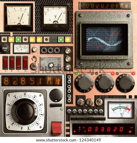 Control panel of a vintage research device #124340149