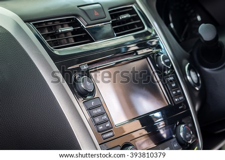 Control panel of audio player and other devices of the car #393810379