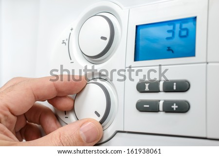 Control panel of the gas boiler  for hot water and heating ストックフォト ©