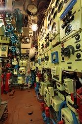 Control panel old diesel submarine