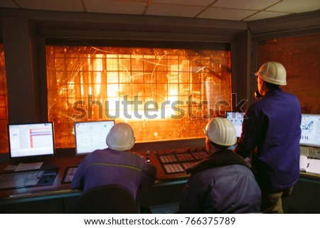 Control panel. Plant for the production of steel.