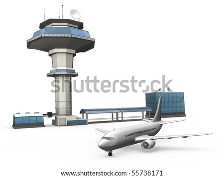Control tower and an plane