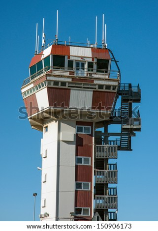Control tower at the airport of Genoa, Italy