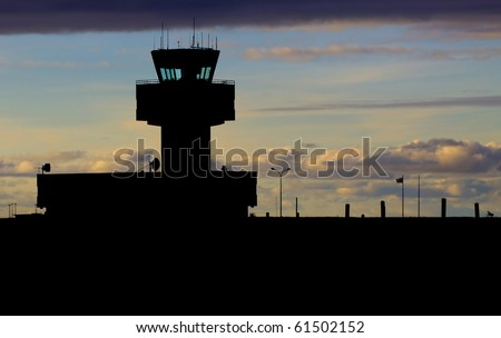 Control tower in the evening