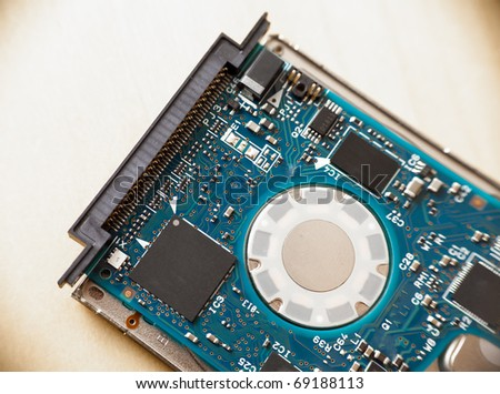 Controller board of a 1.8 inch hard drive which is usually used in mp3 players