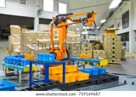 Controller of industrial robotic arm for performing, dispensing, material-handling and packaging applications in production line manufacturer factory.