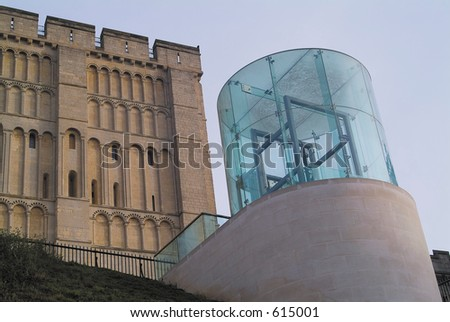 Controversial modern structure built in front of the ancient castle at Norwich, Norfolk