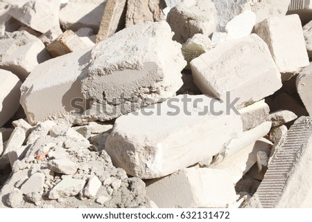 contruction bricks and rubble on a Construction Site #632131472