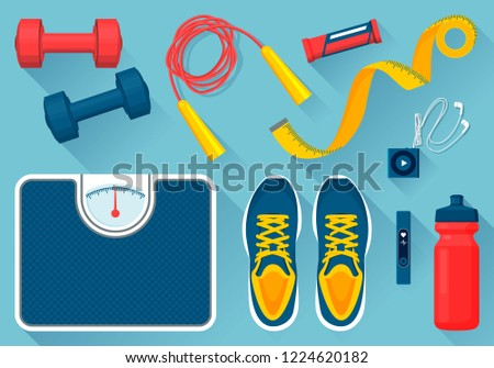 Convenient equipment for fitness  illustrations set. Comfortable sneakers, tools for exercises, floor scales, water bottle and mp3 player.