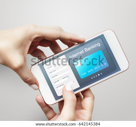 Convergence life online shopping on mobile phone #642145384