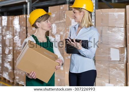 Conversation between blue-collar worker and secretary
