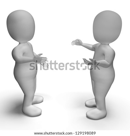 Conversation Between Two 3d Characters Shows Communication - stock photo