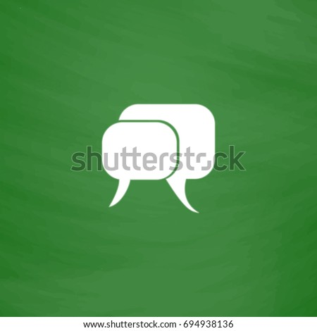 Conversation Icon Illustration. Flat symbol. Imitation draw with white chalk on green chalkboard. Pictogram and School board background