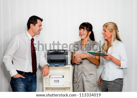 conversation with several employees in one office