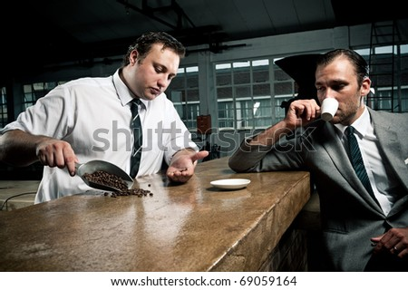 conversations about coffee between barista and businessman